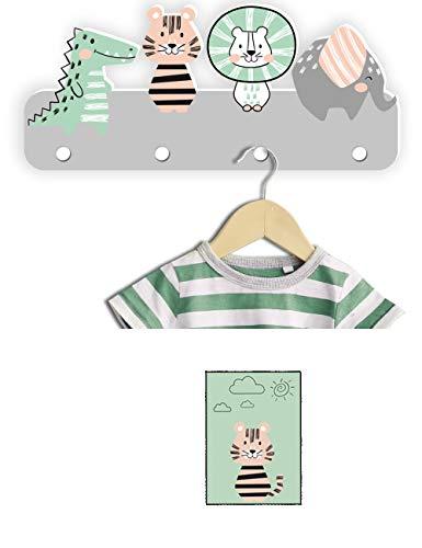 Kindergarderobe mit Tiermotiv von Kindsblick ® in der Farbe Grau