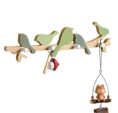 Kindergarderobe 4 Haken mit kleinen Vögeln