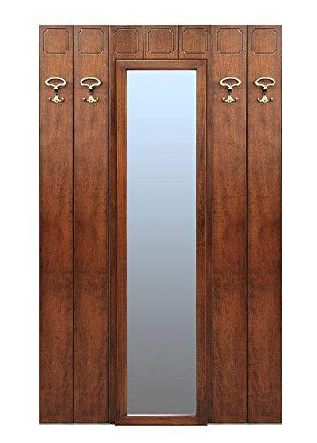 Arteferretto Garderobe Paneel aus Holz mit Spiegel, Garderobe mit 4 Haken und Spiegel in der Mitte