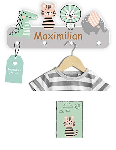 Kindsblick Garderobe mit Wunschname Personalisierte Kindergarderobe mit 4 Kleiderhaken
