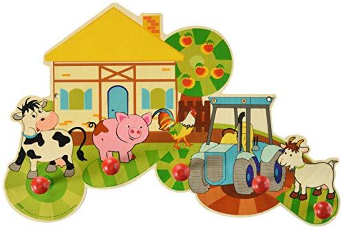 Garderobe aus Holz Serie Bauernhof mit 5 Haken für Kinder