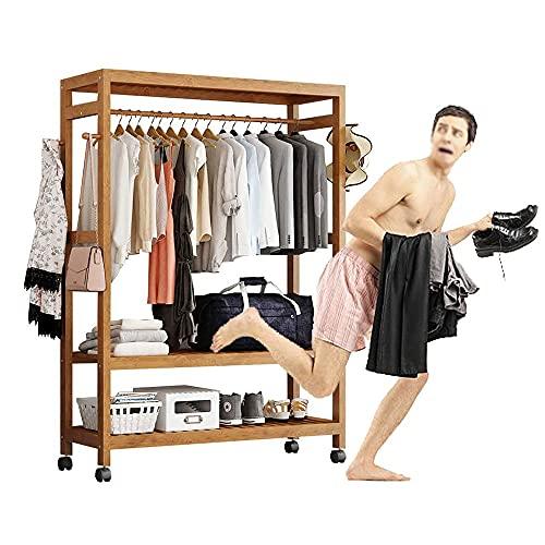 LOHOX Kleiderständer Garderobe Bambus Garderobenständer auf 4 Rollen