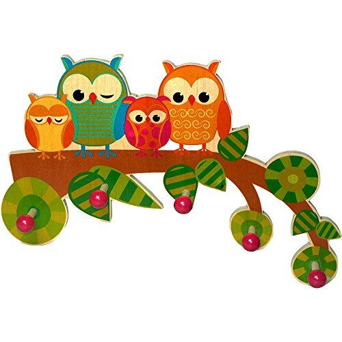 Garderobe aus Holz Eule mit 5 Haken für Kinder