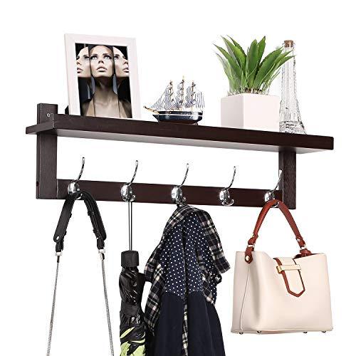 Homfa Bambus Eingang Wandregal Hängeregal Garderobe Wandmontage mit 5 Doppelhaken Metall Haken für Flur,